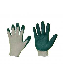 Перчатки х/б, 1-ый латекс, зел, 13 кл