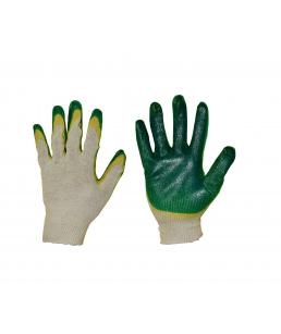 Перчатки х/б, 2-ой латекс, зел/жел, 13 кл
