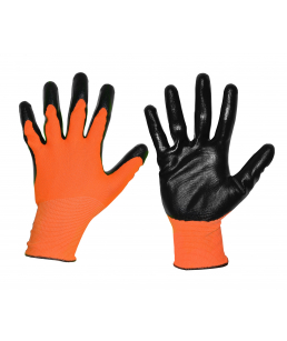 Перчатки нейлон, нитрил, оранж/черн, 15 кл