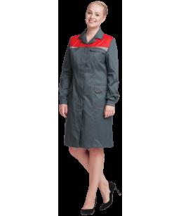 Халат КМ-10 ЛЮКС-ЖЕН (серый красный)